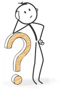 stickman with a question mark icon. looking for solutions.