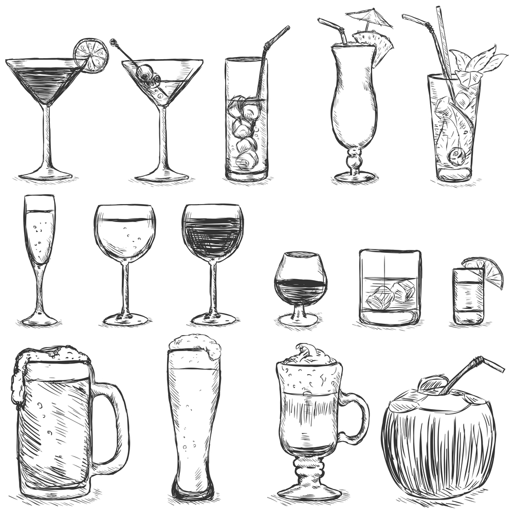 Sketch Cocktails and Alcohol Drinks