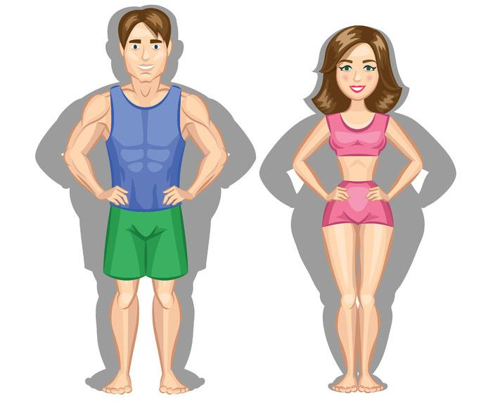 cartoon healthy lifestyle illustration. woman and man