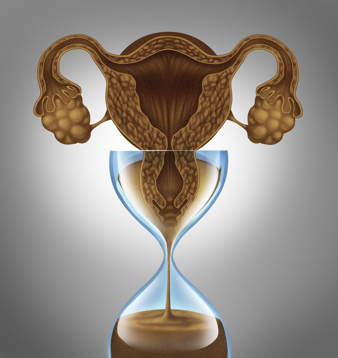 female biological clock concept as a uterus and ovaries from the anatomy of a woman as falling sand in an hourglass as a metaphor for the anxiety stress and pressure to get pregnant before the aging process of human menopause.