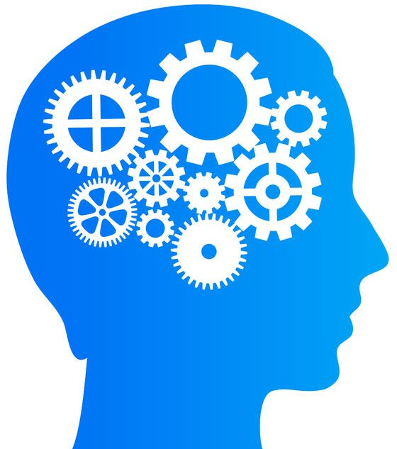 thinking brain with gears