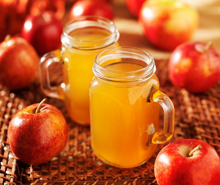 hot apple cider in mason jars